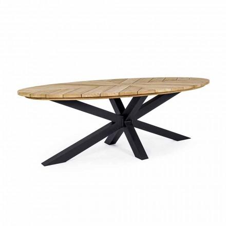 Venkovní jídelní stůl s oválnou deskou v teaku, Homemotion - Selenia