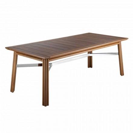 Zahradní jídelní stůl z přírodního nebo černého dřeva, italský luxus - Suzana