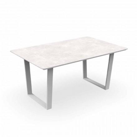 Moderní zahradní jídelní stůl z hliníku a gresu - Alabama Alu Talenti