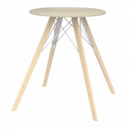 Kulatý designový jídelní stůl ze dřeva a Dektonu 4 kusy - dřevo Faz od společnosti Vondom