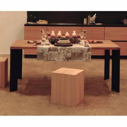 Designový jídelní stůl v designu přírodního ořechu, L200xP100cm, Yvonne