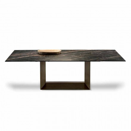 Rozkládací jídelní stůl v keramice a kovu vyrobený v Itálii - tmavě hnědá