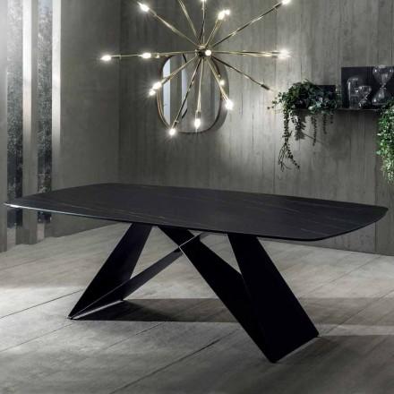Designový jídelní stůl z keramického a matného kovu Portoro - Falcon