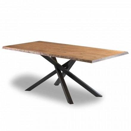 Designový jídelní stůl ze dřeva s ocelovou základnou vyrobený v Itálii - Licis