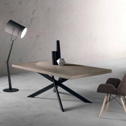 Designový jídelní stůl v dubu a kovu vyrobený v Itálii Oncino