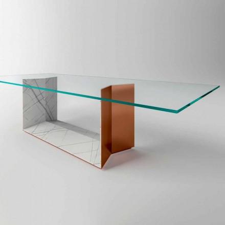 Skleněný jídelní stůl s kovovým a mramorovým podstavcem vyrobený v Itálii - Minera