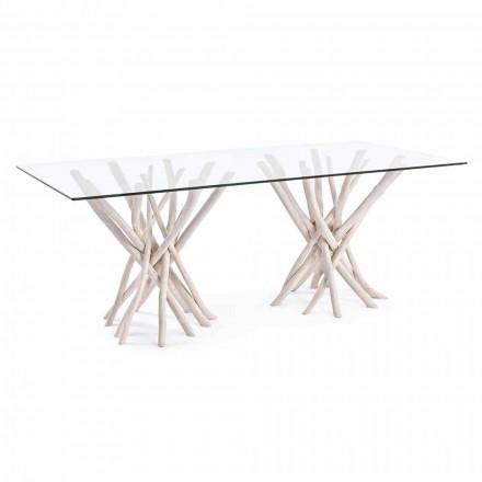 Designový jídelní stůl ze skla a běleného teaku Homemotion - Francie