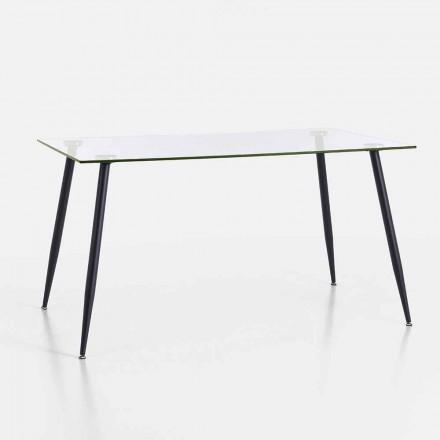 Moderní designový jídelní stůl z tvrzeného skla a černého kovu - Foulard