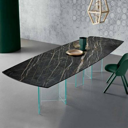 Keramický jídelní stůl a skleněná základna z extrémního světla vyrobená v Itálii - náhodná