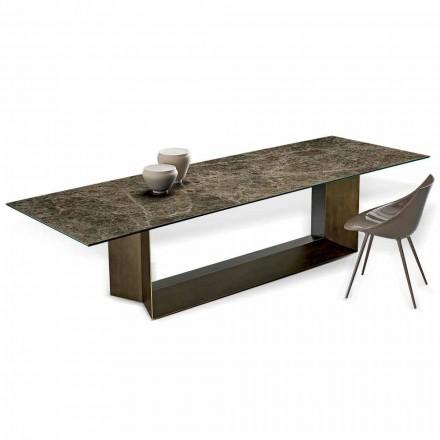 Keramický a bronzový kovový jídelní stůl císaře Made in Italy - Dark Brown