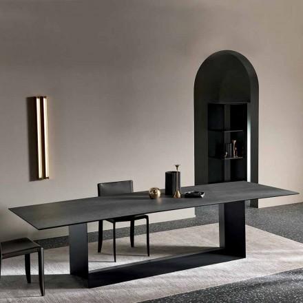 Keramický jídelní stůl Anthracite Savoy vyrobený v Itálii - tmavě hnědá