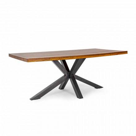 Ocelový jídelní stůl Homemotion v provedení Mango Wood - Marvin