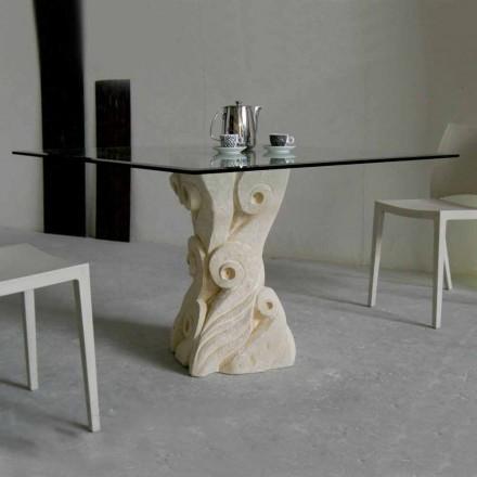 kamenný jídelní stůl se skleněnou deskou designu Giasone