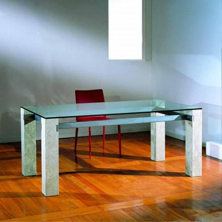 kamenný jídelní stůl a sklo moderní design EBEA