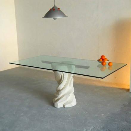 kamenný jídelní stůl a sklo moderní design Uran