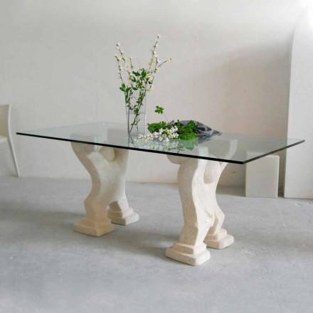 Kamenný jídelní stůl a moderní design krystal Medusa