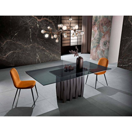 Jídelní stůl ze skla a masivního dřeva vyrobený v Itálii, Egisto