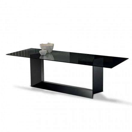 Jídelní stůl z uzeného nebo mimořádného skla a kovu vyrobeného v Itálii - Moro
