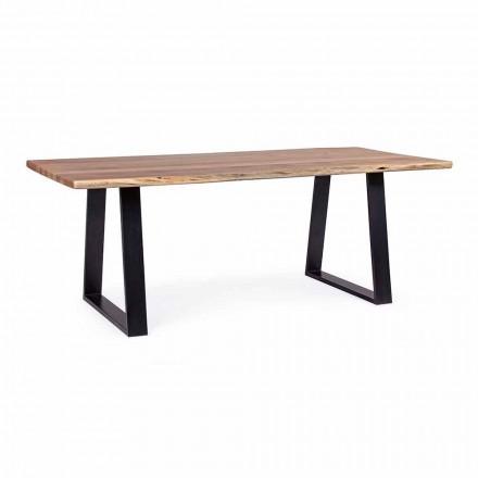 Průmyslový jídelní stůl Homemotion s deskou z akátového dřeva - Vermont