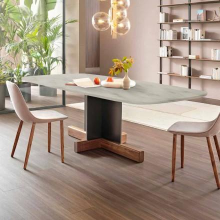 Moderní jídelní stůl s mramorovou deskou vyrobený v Itálii - křížový stůl Bonaldo