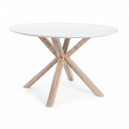 Moderní jídelní stůl s kulatou deskou v bílé MDF Homemotion - Vento