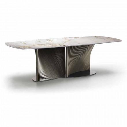Luxusní jídelní stůl z kameniny a jasanového dřeva vyrobený v Itálii - Croma