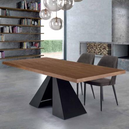 Moderní jídelní stůl ze dřeva a oceli Venereed Made in Italy - Dalmata