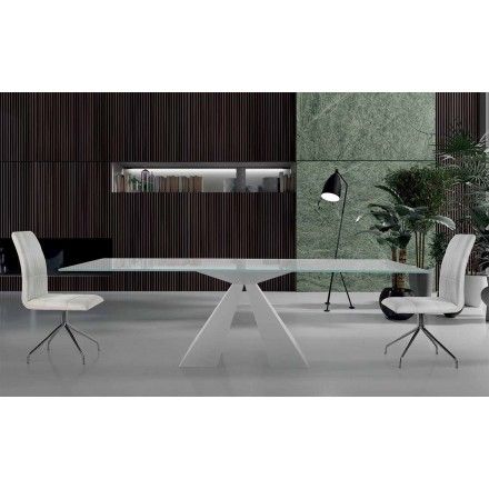 Moderní jídelní stůl z bílé oceli a skla vyrobený v Itálii - Dalmata