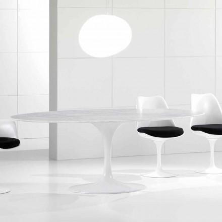 Luxusní oválný jídelní stůl, mramorová deska Carrara, vyrobeno v Itálii - Nerone