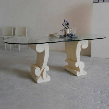 oválný jídelní stůl z kamene a klasického designu křišťálově Arachne