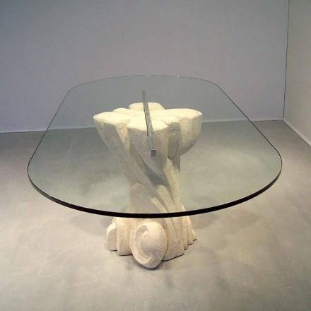 Oválný stůl ručně vyřezávaný v Vicenza Stone a krystalu Afrodity