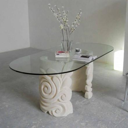 oválný jídelní stůl v kamenném a moderní design křišťálu Aden