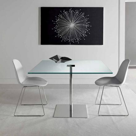 Čtvercový jídelní stůl z extrémně lehkého skla a kovu vyrobený v Itálii - Dolce