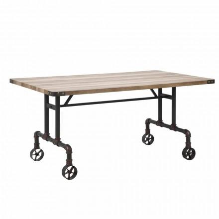 Obdélníkový designový jídelní stůl, horní část MDF a kovová základna - Fabrice