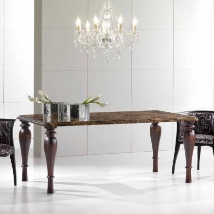 Obdélníkový jídelní stůl v Emperador Dark Marble Vyrobeno v Itálii - Nicolas