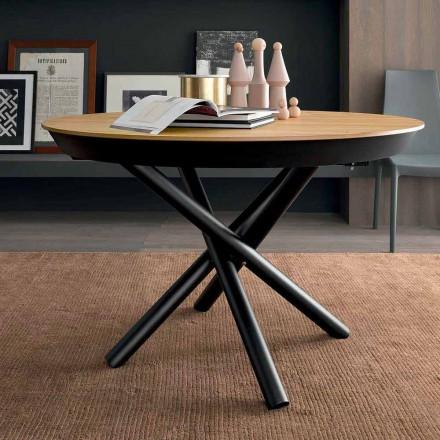 Kulatý rozkládací jídelní stůl s dřevěnou deskou vyrobené v Itálii - Crodino