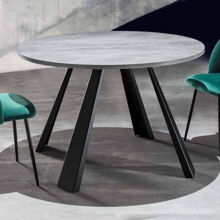 Kulatý jídelní stůl rozšiřitelný až na 370 cm ze dřeva a kovu - Caimano