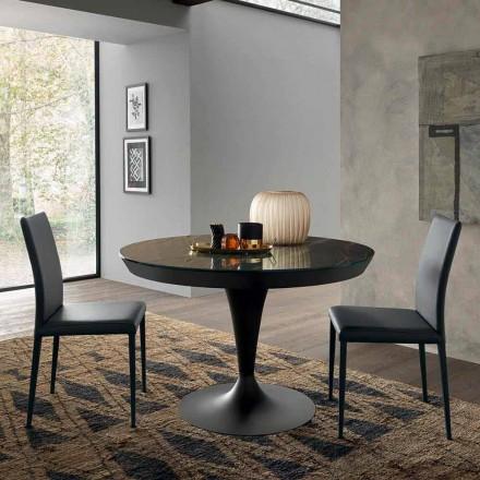 Kulatý rozkládací jídelní stůl z laminované keramiky vyrobený v Itálii - Lupetto