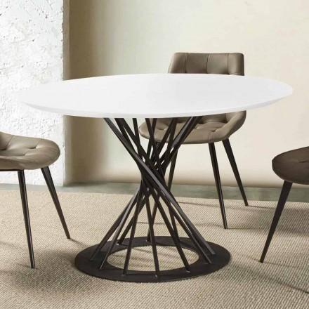 Kulatý jídelní stůl s laminovanou dřevěnou deskou a ocelovou základnou - Mileto