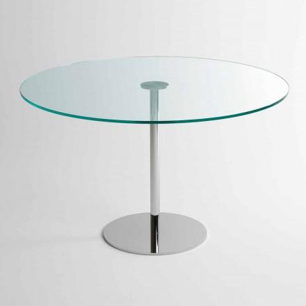 Kulatý jídelní stůl s skleněnou deskou z extrémního světla Vyrobeno v Itálii - Dolce