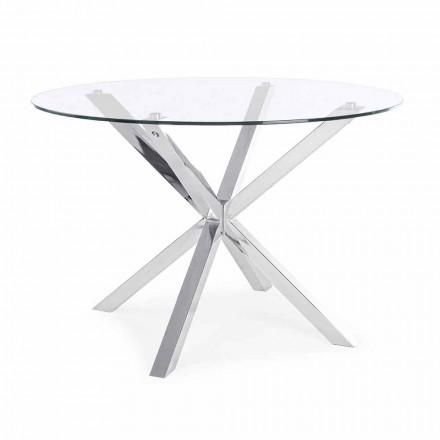Kulatý jídelní stůl Homemotion s deskou z tvrzeného skla - Denda