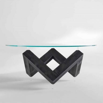 Kulatý jídelní stůl ze dřeva se skleněnou deskou Bao