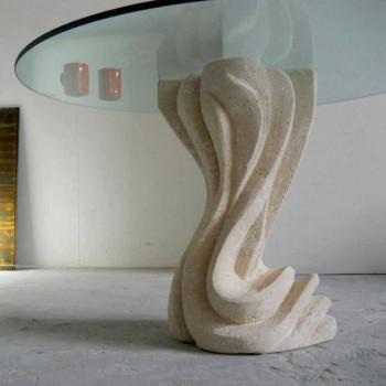 Kulatý jídelní stůl z kamene se skleněnou deskou Cadmus