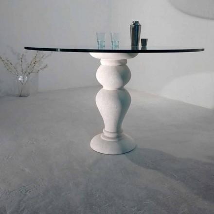 kulatý jídelní stůl do kamene a křišťálově Oidipa, klasický design