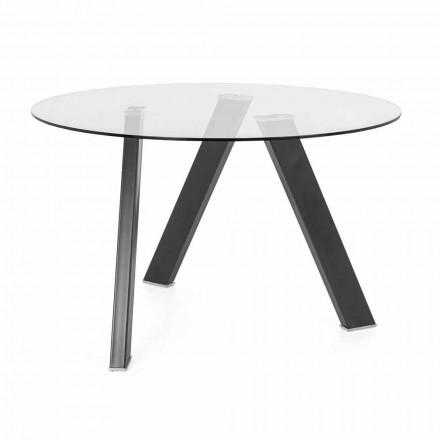 Průměr kulatého jídelního stolu 120 cm ve skleněném a kovovém provedení - Tonto