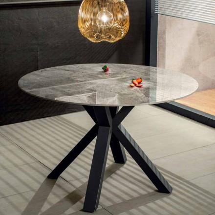 Moderní kulatý jídelní stůl z keramického mramoru a kovu - Jarvis