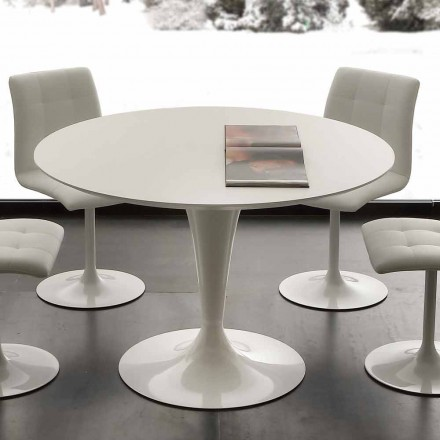 Topeka bílý kulatý jídelní stůl, moderní design