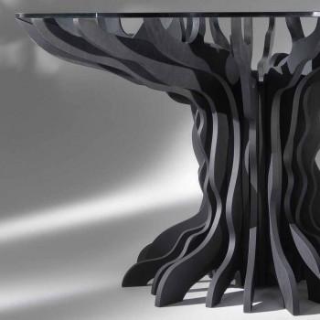 Cassia kulatý jídelní stůl, piano black dřevo a sklo top