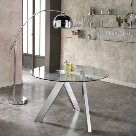 Kulatý jídelní stůl se skleněnou deskou v Adamovi, moderním designem