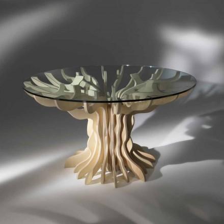Kulatý jídelní dřevěný stůl s tvrzeného skla Dalia